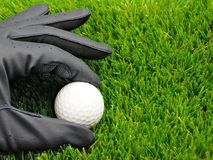 Golf ball and glove Stock Photography