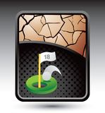 Golf ball going into eighteenth hole. On cracked gold background Stock Photography