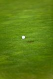 Golf ball going into a hole Royalty Free Stock Photo