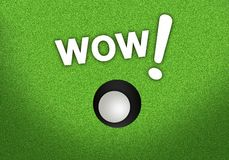 A Golf Ball Going in The Hole. Beautiful Golf Green and A Golf Ball in The Cup with Word WOW Royalty Free Stock Images