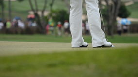 Golf ball going into the hole. On the golf course. HD stock footage