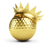 Golf ball gold crown Royalty Free Stock Images
