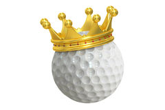 Golf ball with gold crown, 3D rendering Stock Image