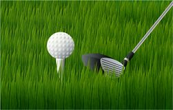 Golf ball and golf club on the grass stock illustration