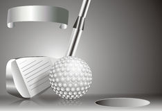 Golf ball with golf club with with winners chart Royalty Free Stock Photography