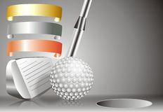 Golf ball with golf club with with winners chart. Golf ball with golf club with chart of winners Royalty Free Stock Photography