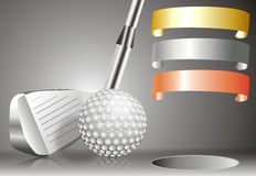 Golf ball with golf club with with winners chart Royalty Free Stock Photo