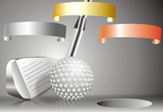 Golf ball with golf club with with winners chart. Golf ball with golf club with chart of winners Stock Images