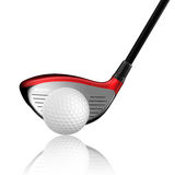 Golf ball with golf driver Stock Images