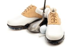 Pair of Golf Shoes with Club, Ball and Tee stock photography