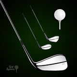 Golf ball and golf stick on the dark background. Vector sport items as design elements royalty free illustration