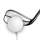 Golf ball and golf stick isolated on the white. Vector sport items as design elements vector illustration