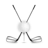 Golf ball and golf stick on the white. Vector sport items as design elements vector illustration