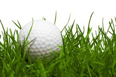 Golf ball with a golf tee on a grass royalty free stock photography