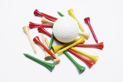 Golf Ball and Golf Tees Royalty Free Stock Images