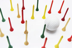 Golf Ball and Golf Tees Stock Photos