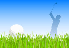 Golf ball and golfer Royalty Free Stock Photography