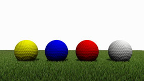 Golf ball on grass. 3d rendered of colored golfball on green grass with white background Royalty Free Stock Images
