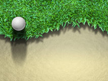 Golf ball on grass. Golf ball on green grass for web page background Royalty Free Stock Photos