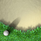 Golf ball on grass. White golf ball on grass with shadow Royalty Free Stock Images