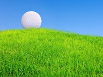 Golf ball on grass from above Stock Photos