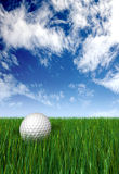 Golf ball on grass and blue sky Stock Photos