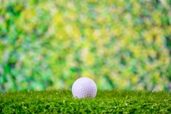 Golf ball on grass on blurred green background royalty free stock image