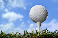 Golf ball in grass, close up Stock Photo