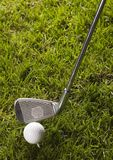 Golf ball on grass with driver Stock Photo