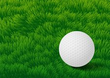 Golf ball on Grass Field background-Vector Illustration Royalty Free Stock Image