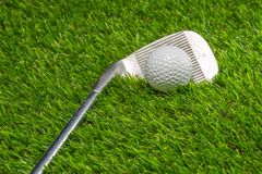 Golf ball and golf club on grass. Activity background beautiful close color competition copy course day detail equipment fairway field game golfball golfer stock images