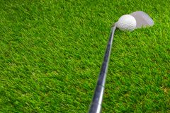 Golf ball and golf club on grass. Activity background beautiful close color competition copy course day detail equipment fairway field game golfball golfer stock photography