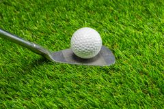 Golf ball and golf club on grass. Activity background beautiful close color competition copy course day detail equipment fairway field game golfball golfer stock image