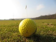 Golf ball on grass. With a view of the flag royalty free stock images