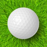 Golf ball on grass. Golf ball on the green grass realistic vector illustration stock illustration