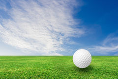 Golf ball on grass nature vector illustration
