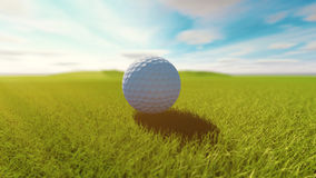 Golf ball on grass. Sunny day. 3d render Royalty Free Stock Image