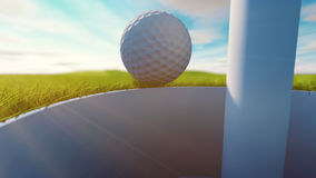 Golf ball on grass. Sunny day. 3d render Royalty Free Stock Photo