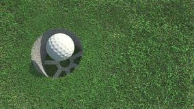 Golf ball on the grass. And winding leafs
