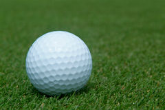 Golf-ball on green. Close-up with shallow depth of field Stock Photography