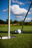 Golf Ball on the Green. Grass with green background royalty free stock images