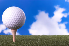 Golf Ball on the Green. Closeup of golf ball on the green stock images