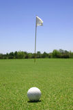 Golf ball in the green stock photos