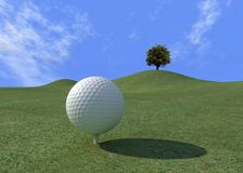 Golf-ball on green. Golf-ball in a beautifull day - digital art-work Stock Image