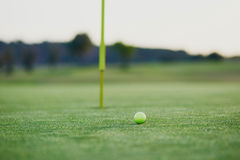 Golf ball on the green. Approaching to the hole Stock Images