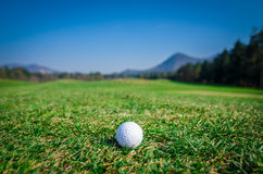 Golf ball on green area with green grass ahead and mountains in Stock Photography