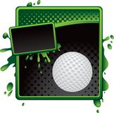 Golf ball on green and black halftone sign. Green and black halftone grungy golf ball advertisement Stock Photo