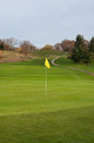 Golf Ball on Green, Fairway, Cart Path and Elevated Tee Box Royalty Free Stock Images