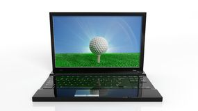 Golf ball on green field with blue sky on screen of a laptop Stock Image