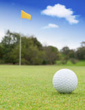 Golf Ball on Green. A golf ball on a green with the flag in the background Royalty Free Stock Images